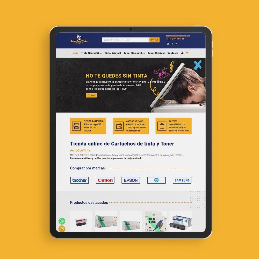 Desarrollo de marca corporativa y e-commerce para Achoquetinta